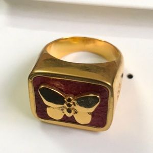 Brand new Tory Burch butterfly red ring